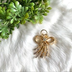 Vintage Gold and Rhinestone Ribbon Bow Brooch